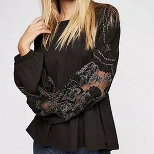 Free People Penny Top Blouse Black Embroidered S